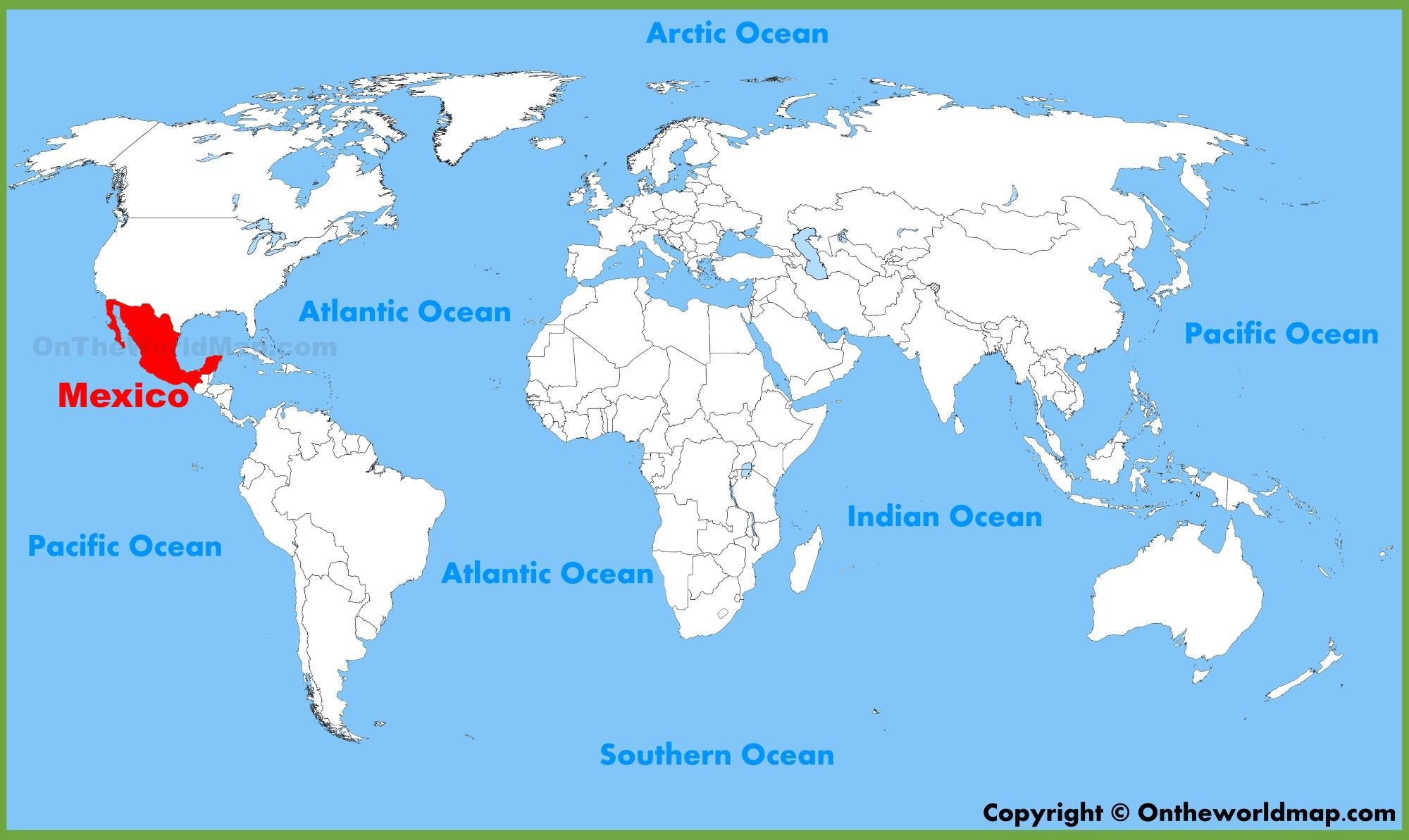 Carte du monde de Mexico - Mexique dans la carte du monde (Amérique Centrale - Amérique)